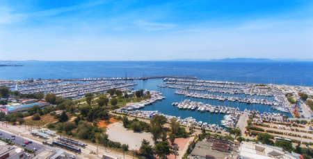 Aerial view of the marina in Athens, Greece. Soft focus. Stok Fotoğraf