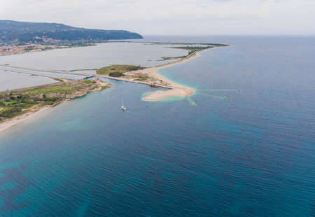 Aerial view of entrance to the island Lefkada. Ionian, Greece.
