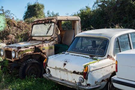 Abandoned retro cars in the junkyard.