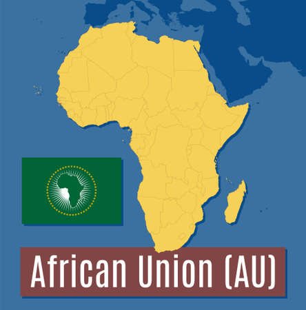 Schematic vector map and flag of the African Union (AU). 向量圖像