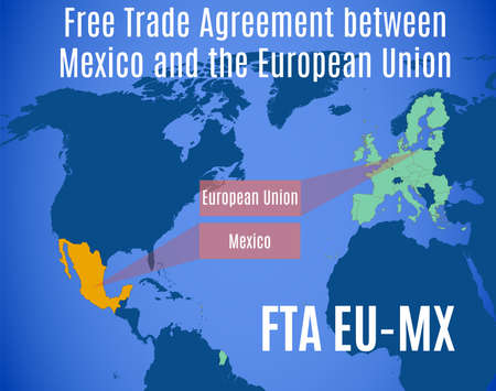 Vector map of the Free Trade Agreement between Mexico and the European Union (FTA EU-MX).