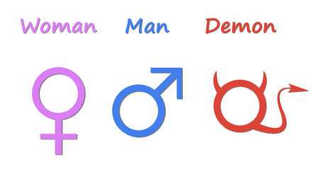 Gender symbols. Humorous depiction of the symbols of a man woman and demon.