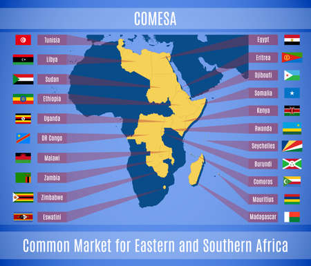 Vector map and flags of the Common Market for Eastern and Southern Africa (COMESA).