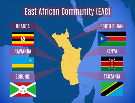 Vector map and flags of the East African Community (EAC).