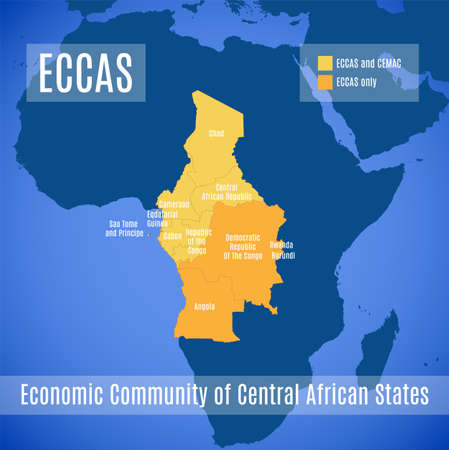 Map of the Economic Community of Central African States (ECCAS). 向量圖像