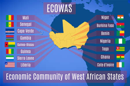 Vector map and flag of the Economic Community of West African States (ECOWAS). 向量圖像