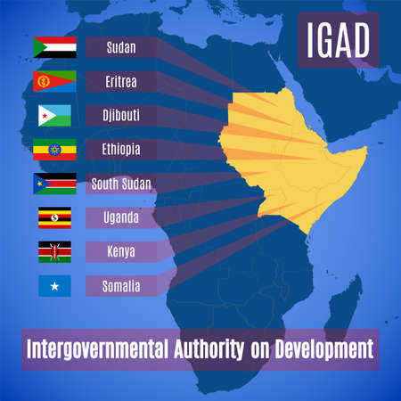 Member countries of the Intergovernmental Authority on Development. Vector map and flags of members of the IGAD.