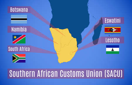 Vector map and flags of the Southern African Customs Union (SACU).