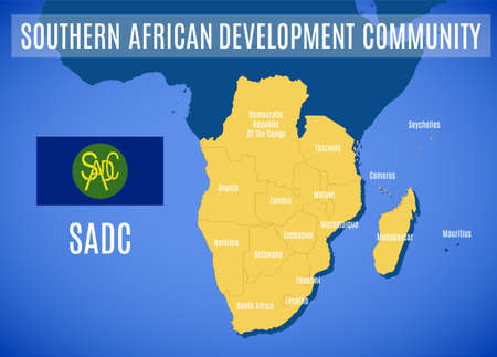 Vector map of the Southern African Development Community (SADC).
