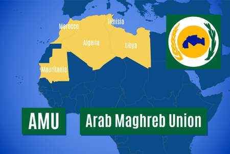 Map and flag of the Arab Maghreb Union (AMU).
