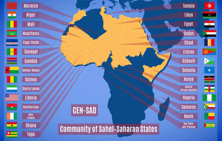 Map and flags member states of the Community of Sahel–Saharan States (CEN-SAD). Vecteurs
