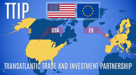 Map of the Transatlantic Trade and Investment Partnership (TTIP).