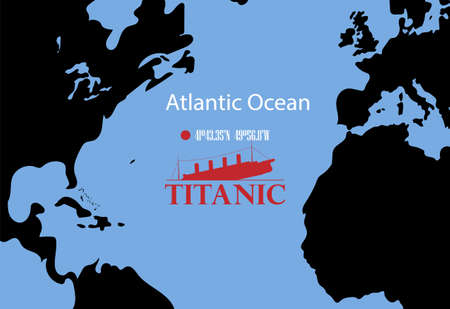 Schematic vector map of the place where the wreckage of the Titanic rests. Ilustração