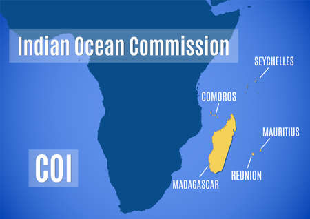 Schematic vector map of the Indian Ocean Commission (COI).