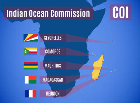Vector map and flags of the Indian Ocean Commission (COI). Ilustração