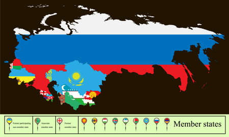 Vector map of the Commonwealth of Independent State (CIS) with the Russian Crimea. Set creative markers with flags of states members of the CIS.