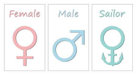 Gender symbols. Humorous depiction of the symbols of a man woman and sailor Ilustração
