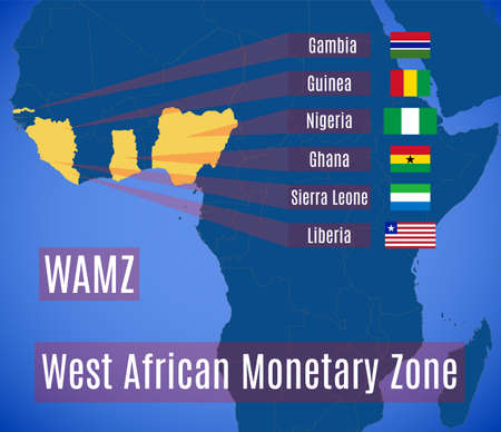 Map and flags of the West African Monetary Zone (WAMZ). Illustration