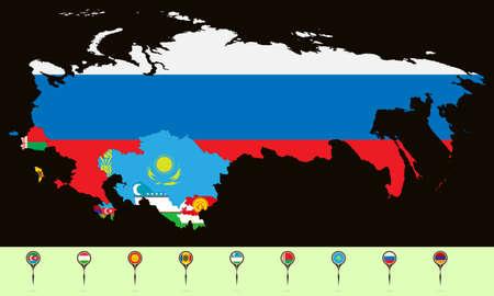 Vektor-Illustration. Karte der Gemeinschaft Unabhängiger Staaten (GUS). Setzen Sie kreative Markierungen mit Flaggen von Staaten, die der GUS angehören.