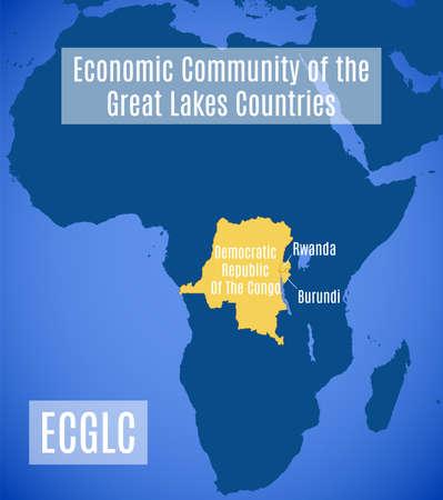 Map of the Economic Community of the Great Lakes Countries (ECGLC). Ilustração