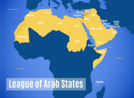 Vector map of the League of Arab States.