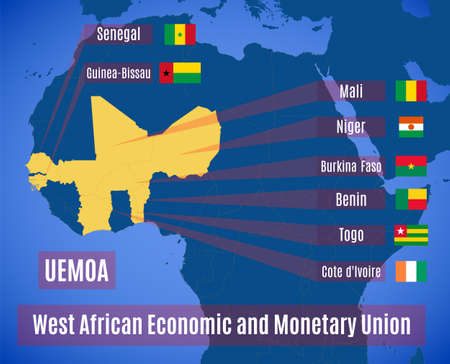 Map and flags country members of the West African Economic and Monetary Union (UEMOA).