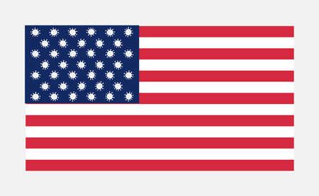 Vector illustration. Creative USA flag with coronavirus molecules.