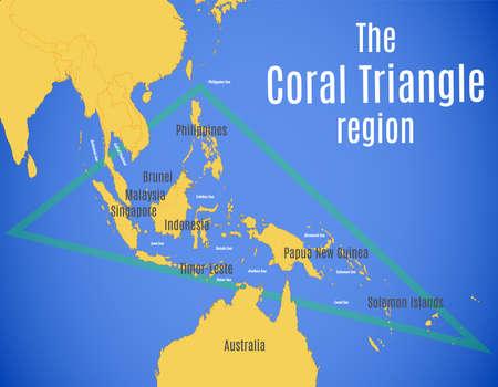 Vector map of the Coral Triangle region. Ilustração