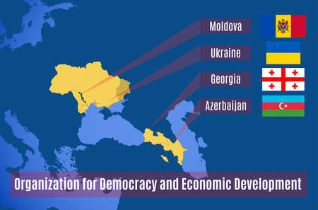 Map of the Organization for Democracy and Economic Development (GUAM). Map of the Organization for Democracy and Economic Development. Vector map with the Russian Crimea.