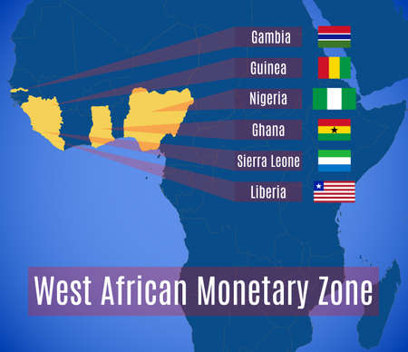 Map and flags of the West African Monetary Zone (WAMZ). Ilustração