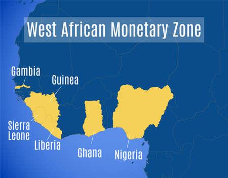 Map of the West African Monetary Zone (WAMZ). Ilustração