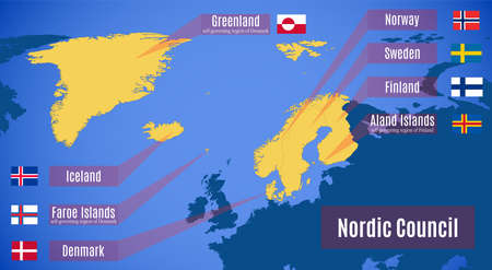 Vector map of the Nordic Council. Çizim