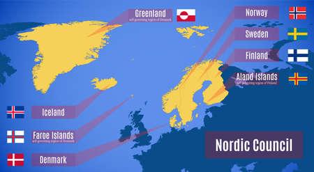 Vector map of the Nordic Council. Ilustração
