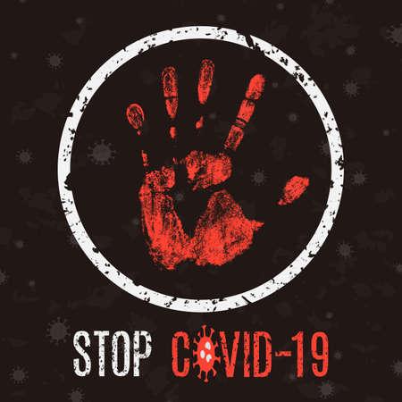 Conceptual vector illustration. Human sickness. Stop COVID-19.