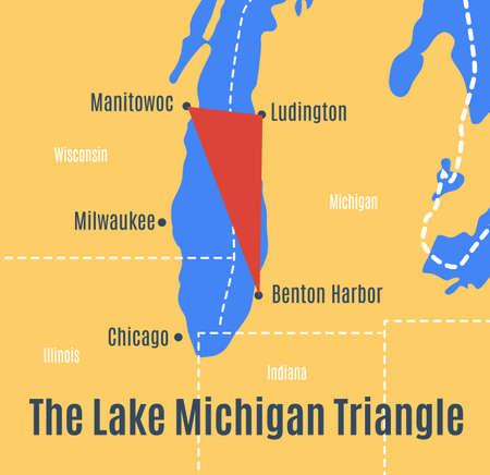 Map of the Lake Michigan Triangle. Ilustração