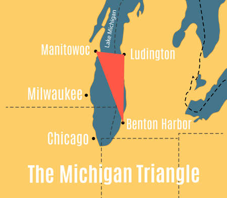 Shematic vector map of the Lake Michigan Triangle.