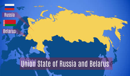 Vector map of the Union State of Russia and Belarus.