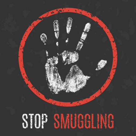 Vector illustration. Social problems of humanity. Stop smuggling. Ilustração