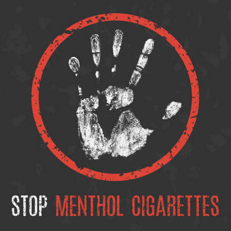Vector illustration. Social problems of humanity. Stop menthol cigarettes.