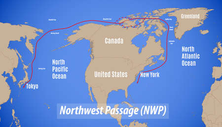 Schematic map of the Northwest Passage (NWP).