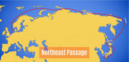 Schematic vector map of the Northeast Passage (abbreviated as NEP).