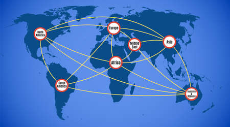 Schematic map of the world network cable communication system Vektorové ilustrace