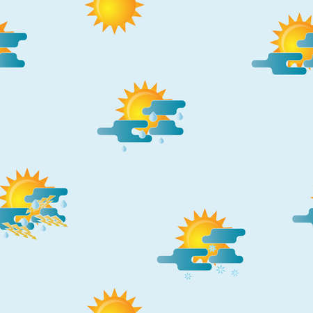 Seamless pattern with creative meteorology weather icons.