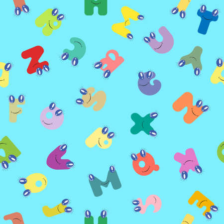 Vector colorful children seamless pattern. Cartoon alphabet.