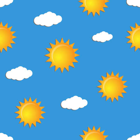 Seamless pattern with suns and clouds.