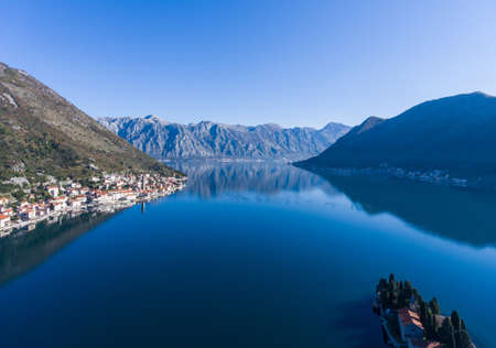 Kotor Bay and the city of Perast in winter. Aerial view. 스톡 콘텐츠