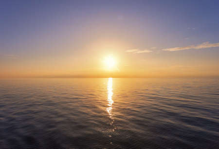 Sunset in the open sea. Aerial view