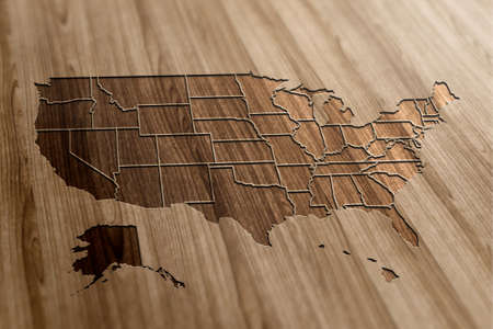 USA Map on Wooden Background