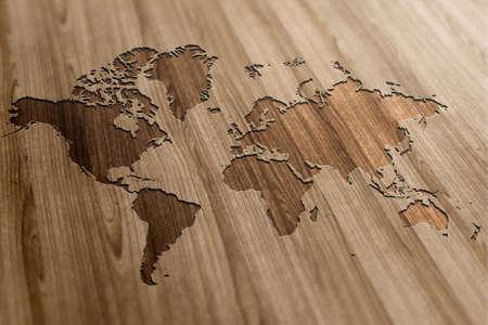 나무 배경에 세계지도