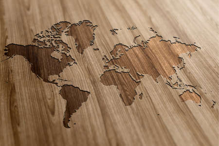 World Map on a wooden background Stock Photo